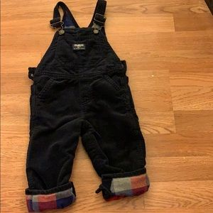 Corduroy overalls with flannel/plaid lining!